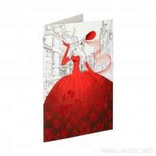 ČESTITKA LADY RED DRESS 3D